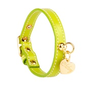 Chihuy - Green and Gold Stitch Leather Collar