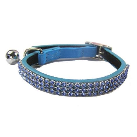 Jewel Cat Leather Collar - Blue