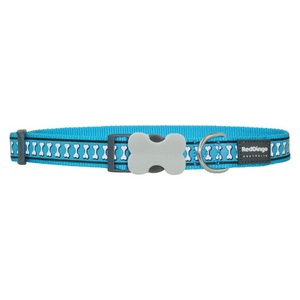Bones Reflective Dog Collar - Turquoise