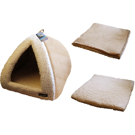 Sand & Cream Pyramid Cat Bed