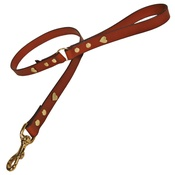 Creature Clothes - Tan Brass Hearts Classic Leather Dog Lead