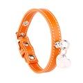 Orange and Silver Stitch Leather Collar
