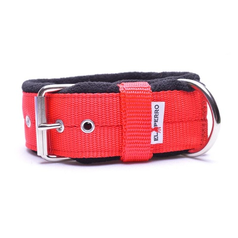 4cm Width Fleece Comfort Dog Collar – Red
