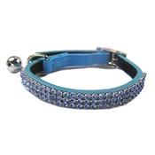 Cool Cat Collars - Jewel Cat Leather Collar - Blue