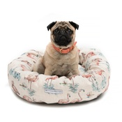 Mutts & Hounds - Flamingo Linen Donut Dog Bed