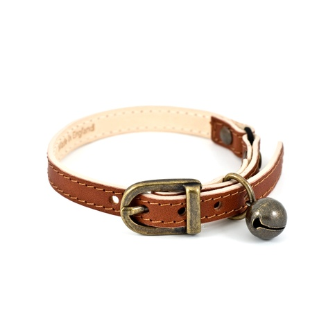 Tan Leather Cat Collar 3