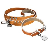 Hennessy & Sons - Saffiano Leather Dog Collar & Lead Set - Hermes Tan