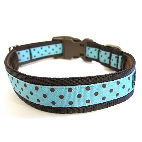 Classic Brown on Aqua Polka Dots Dog Collar 2