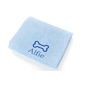 PetsPyjamas - Personalised Blue Bone Dog Towel - Classic font