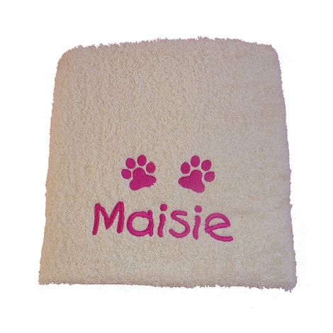 Personalised Pet Towel - Cream
