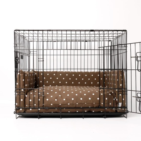 Dog Crate Mattress & Bed Bumper Set - Dotty Chocolate	 3