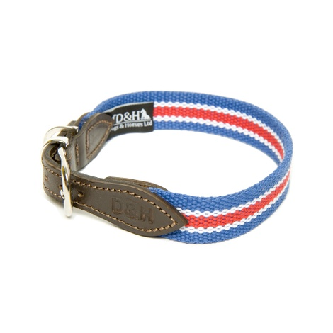 Red, White & Blue Wide Striped Webbing Collar