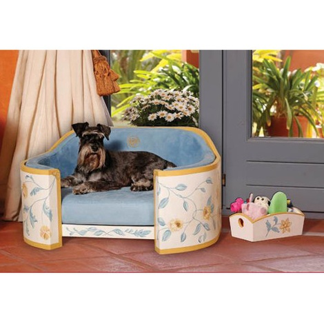 White, Sunglow & Blue French Provincial Dog Sofa 4