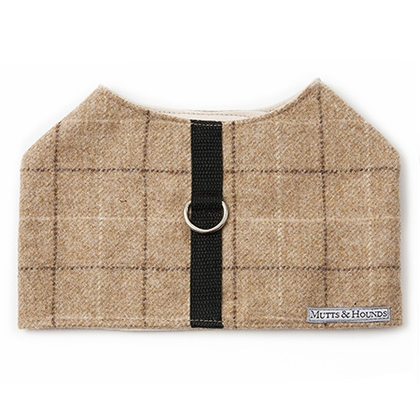 Oatmeal Check Tweed Dog Harness 3