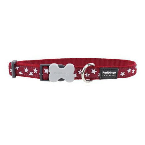 Red Dingo Patterned Dog Collar - Red/White Stars