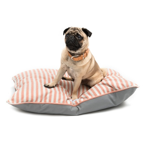 Orange Striped Pillow Dog Bed