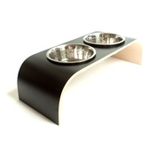 Lola and Daisy - Black & Natural Raised Dog Bowl Holder