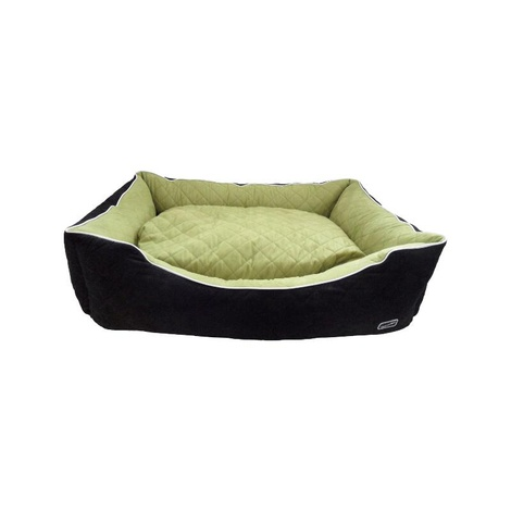 Quilted Rectangle Dog Bed - Black & Green