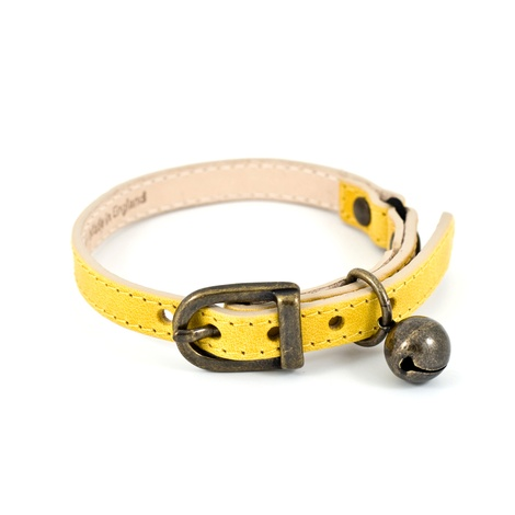 Yellow Leather Cat Collar 3