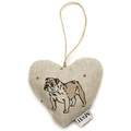 Dogs Linen Lavender Heart Natural - Bulldog