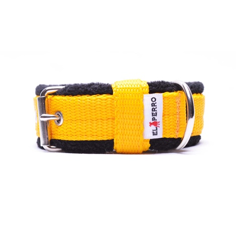 2.5cm width Fleece Comfort Dog Collar – Yellow