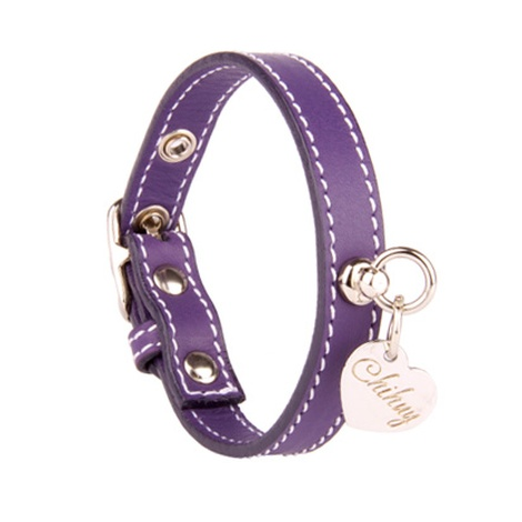 Amethyst and Silver Stitch Leather Collar