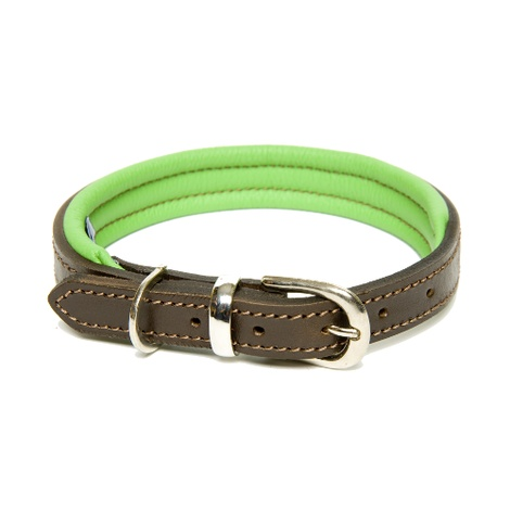 D&H Colours Leather Collar - Green