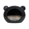 Medium Black Dog Cave with Tartan Cushion