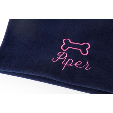 Personalised Navy Bone Dog Blanket - Italic font 2