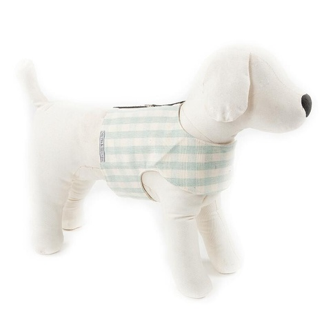 Mint Check Cotton Dog Harness 2