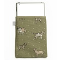 Dogs Linen Tablet Case - Green