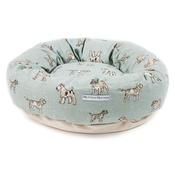 Mutts & Hounds - Dog Print Duck Egg Donut Bed