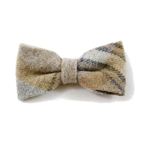 Sand Shetland Wool Dog Bow Tie
