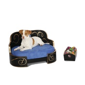 Katalin zu Windischgraetz - Russian Imperial Gold & Royal Blue Dog Sofa