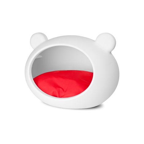 Small White Dog Cave with Red Cushion 4