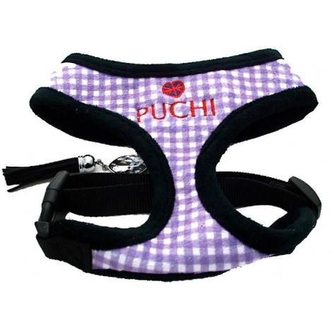 Purple Chequered Pet Harness & Lead