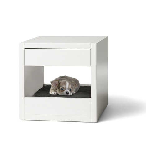 Bloq Pet Bed & Side Table - White