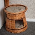 Wicker Two Tier Cat Basket with Cream Cushions 3