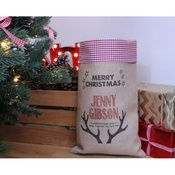 Handcrafted Christmas - Dasher – Personalised Medium Christmas Sack with Red G