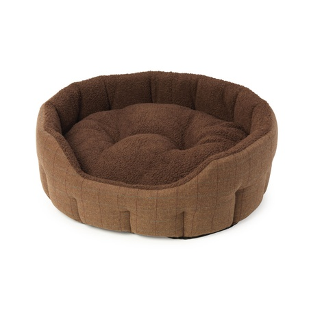 Brown Tweed & Sheepskin Oval Snuggle Dog Bed