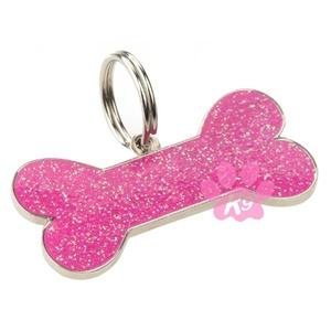 Glitter Bone ID Tag - Pink