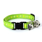Mog's Togs - Green Heart Print Safety Cat Collar
