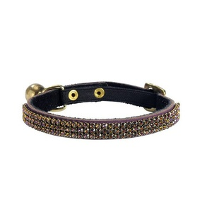 Crystal Princess Leather Cat Collar – Prune