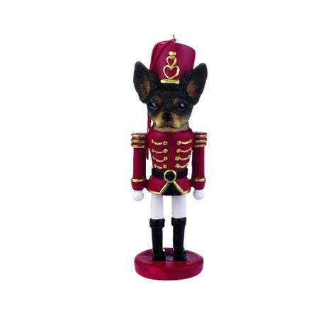 Black & White Chihuahua Nutcracker Soldier Ornament