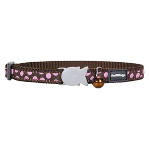 Pink Spots on Brown Cat Collar