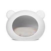 GuisaPet - Medium White Dog Cave with Grey Cushion