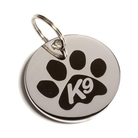 K9 Small Black Paw Cat ID Tag