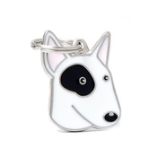 My Family - Bull Terrier Engraved ID Tag – White