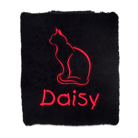 Personalised Cat Towel – Black