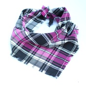 Pet Pooch Boutique - Frayed Pink Chester Plaid Dog Bandana